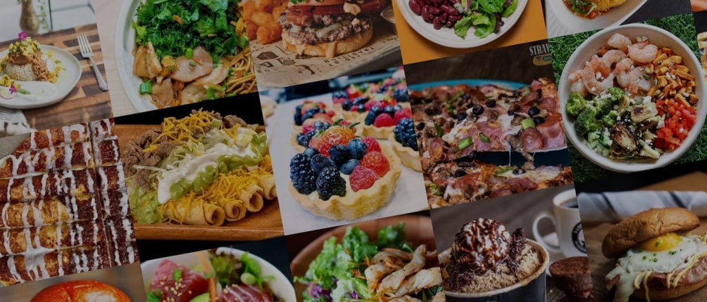 Beautiful grid of various colorful foods.